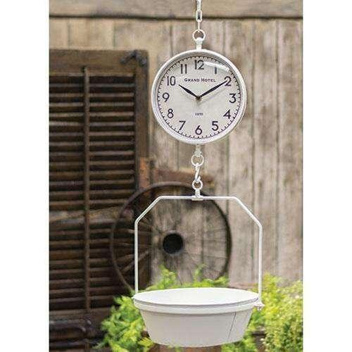 White Vintage Hanging Scale w/Clock Country Clocks CWI+