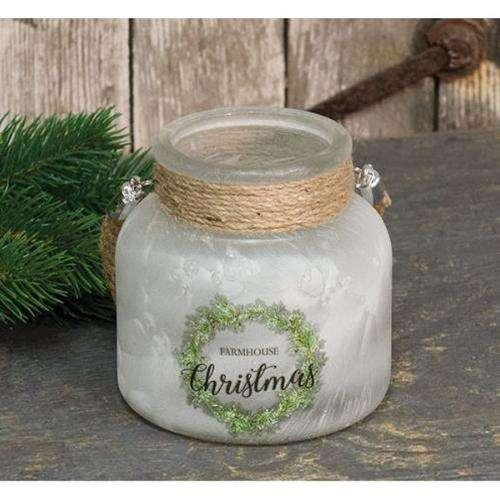 Wide Farmhouse Christmas Jar Glass CWI+