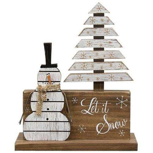 Winter Scene Slat Snowman New Christmas CWI+