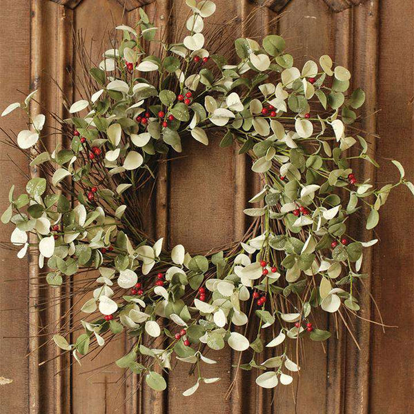 "'+Winter Silver Dollar Wreath, 24"" Christmas CWI+"