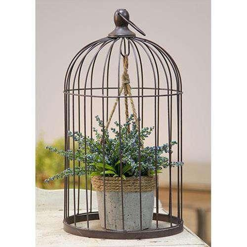 Wire Birdcage with Jute and Cement Plant Holder, Large Tabletop CWI+