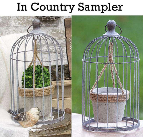 Wire Birdcage with Jute and Cement Plant Holder, Medium Tabletop CWI+