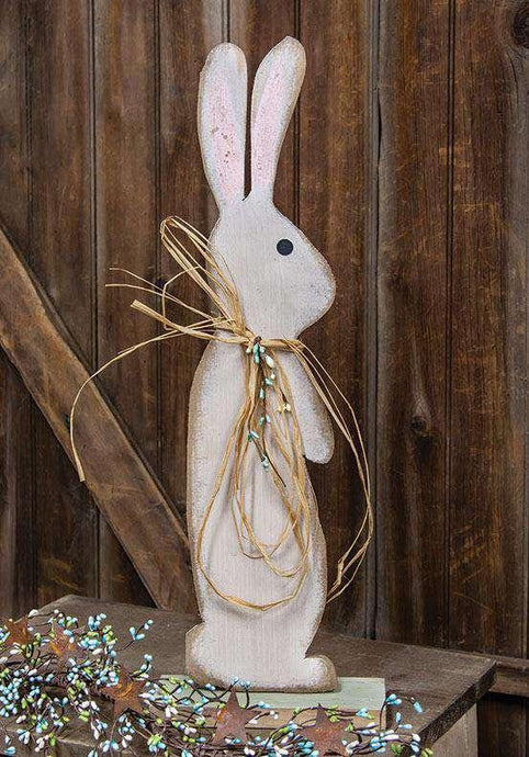 Wood Bunny on Green Base With Pip Berries & Raffia, 2 ft. Wood Bunny CWI+