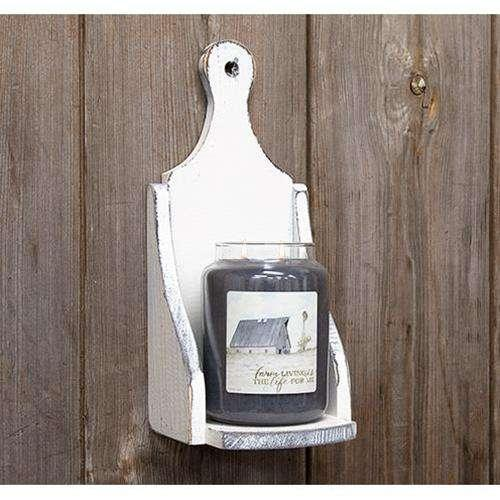 Wood Jar Candle Sconce, Farmhouse White Home Wood Accents CWI+