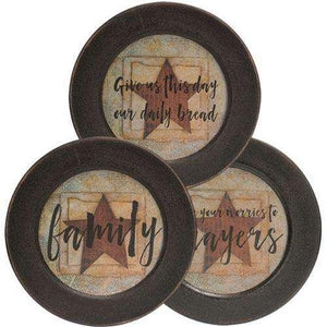 Worries to Prayers Plate, 3 Asst. Plates & Holders CWI+