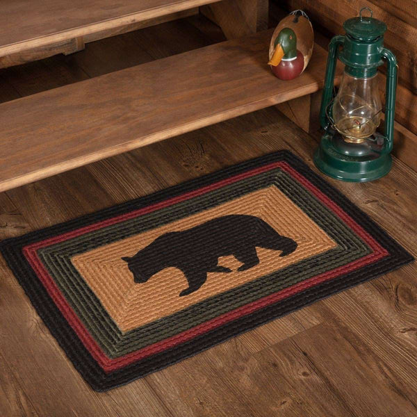 Wyatt Stenciled Bear Jute Braided Rug Oval/Rect rugs VHC Brands