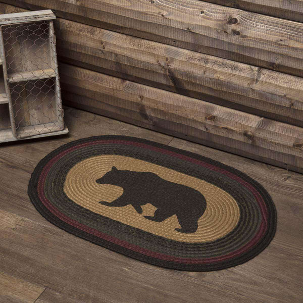 Wyatt Stenciled Bear Jute Braided Rug Oval/Rect rugs VHC Brands 20x30 oval Welcome to our Den