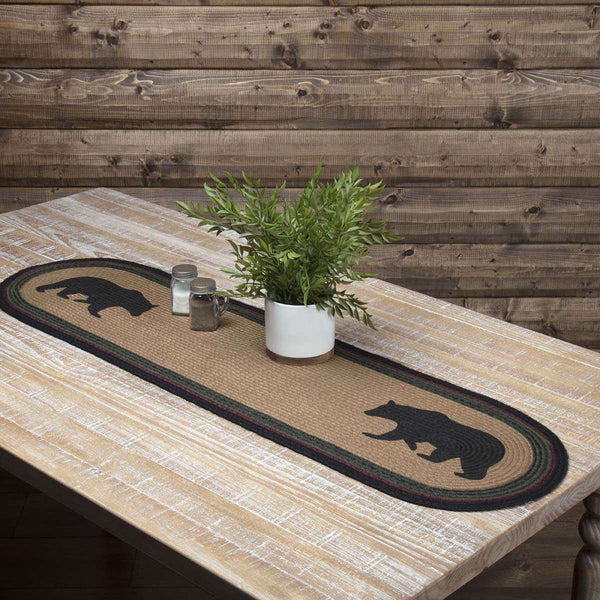 Wyatt Stenciled Bear Jute Braided Table Runner table runner VHC Brands