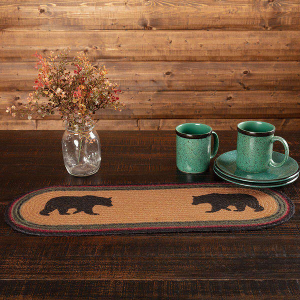"Wyatt Stenciled Bear Jute Braided Table Runner table runner VHC Brands 8"" x 24"""