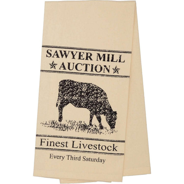 Sawyer Mill Charcoal Cow Muslin Unbleached Natural Tea Towel 19x28 VHC Brands