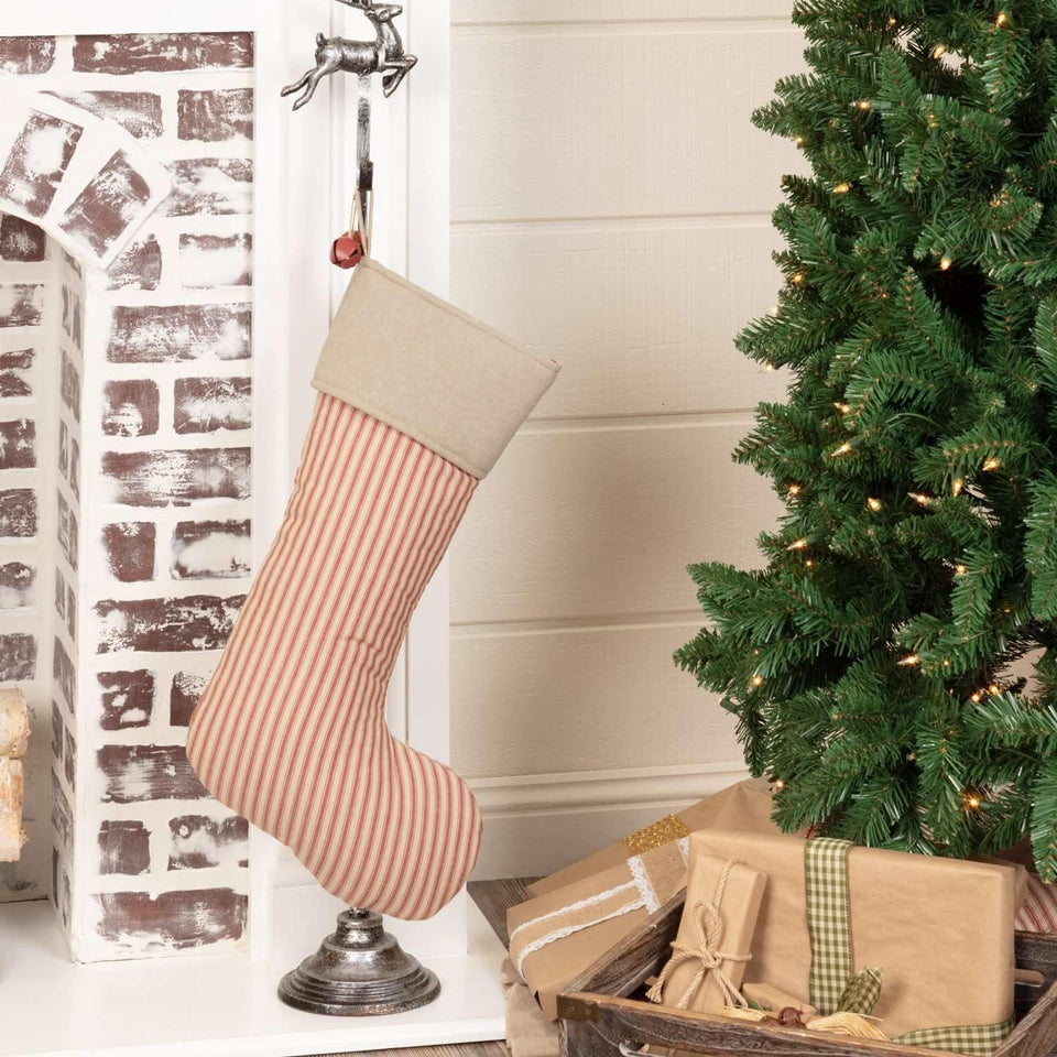 Sawyer Mill Red Ticking Stripe Stocking 12x20