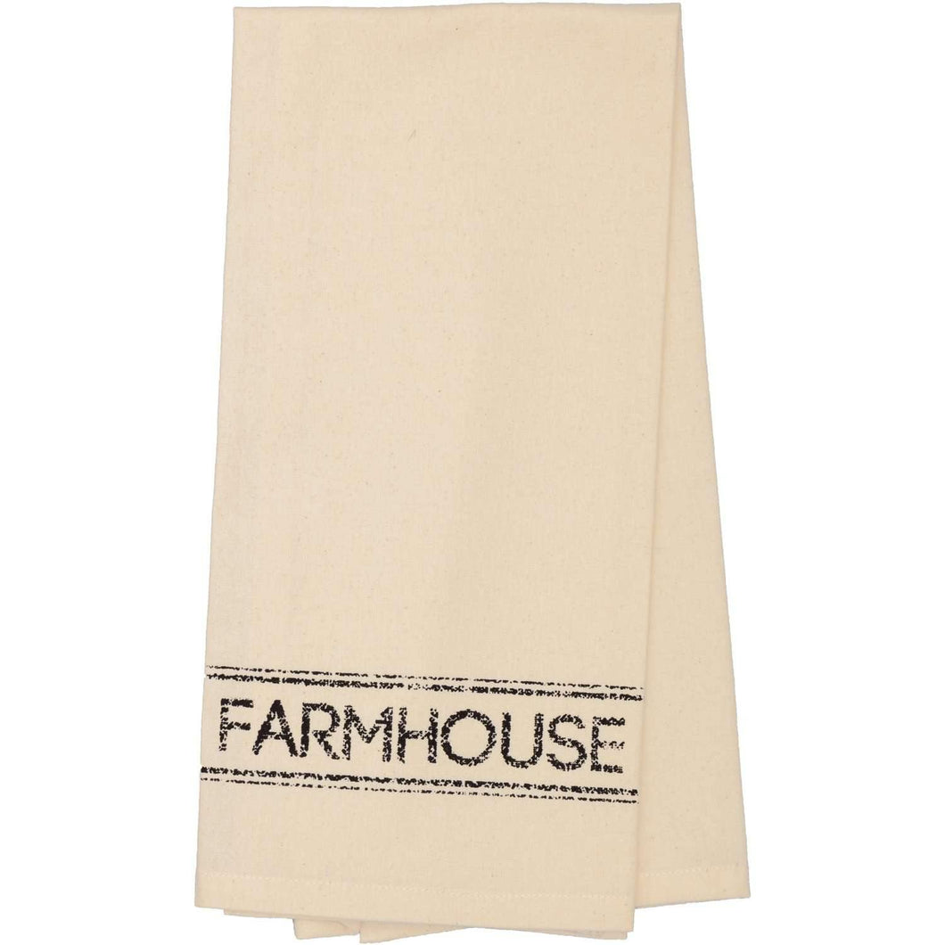 Sawyer Mill Charcoal Farmhouse Muslin Unbleached Natural Tea Towel 19x28 VHC Brands