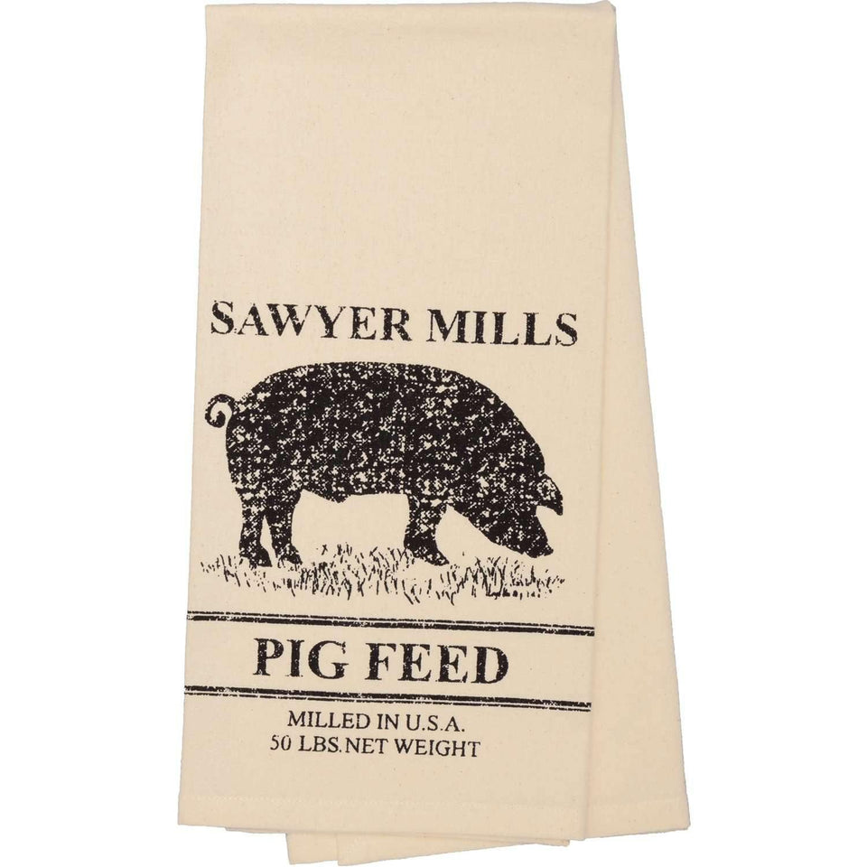 Sawyer Mill Charcoal Pig Muslin Unbleached Natural Tea Towel 19x28 VHC Brands