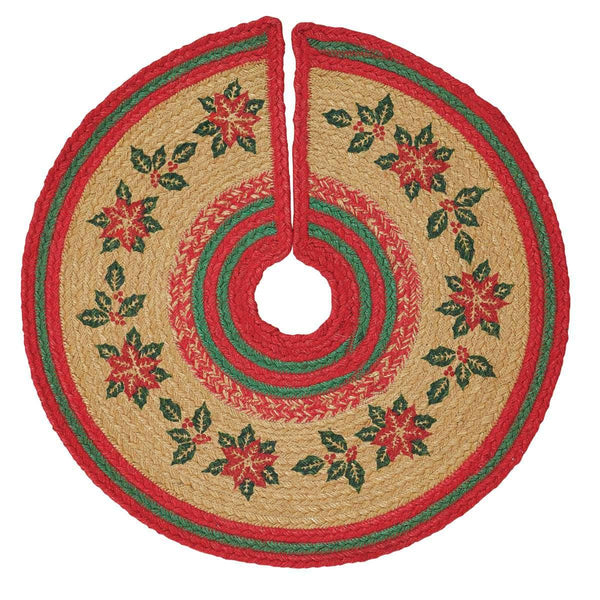 Poinsettia Jute Mini Christmas Tree Skirt 21 VHC Brands