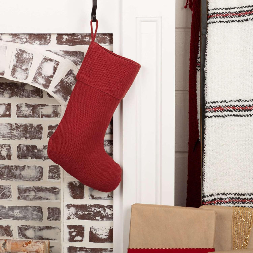 Festive Red Burlap Stocking 11x15
