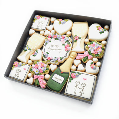 Happy Anniversary hand iced biscuits by katies biscuit shop
