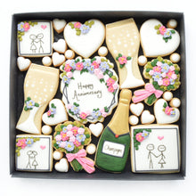 Load image into Gallery viewer, happy anniversary decorated cookies by katies biscuit shop