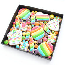 Load image into Gallery viewer, fun rainbow birthday theme hand iced biscuits by katies biscuit shop