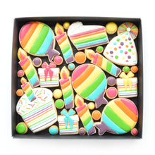 Load image into Gallery viewer, fun rainbow birthday theme decorated cookies by katies biscuit shop