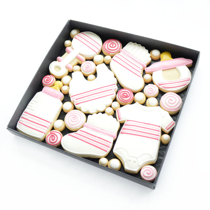 pink new baby girl hand iced biscuits by katies biscuit shop