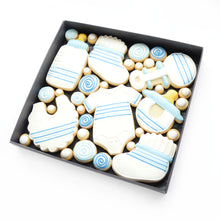 Load image into Gallery viewer, blue new baby boy hand iced biscuits hand iced biscuits by katies biscuit shop