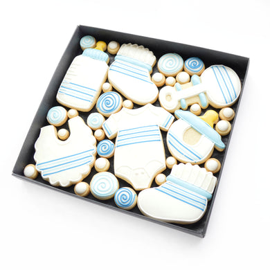 blue new baby boy hand iced biscuits hand iced biscuits by katies biscuit shop