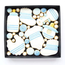 Load image into Gallery viewer, blue new baby boy decorated cookies by katies biscuit shop