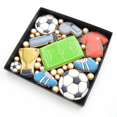 football themed hand iced biscuits by katies biscuit shop