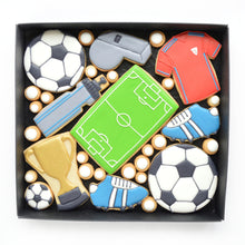 Load image into Gallery viewer, football themed decorated cookies by katies biscuit shop