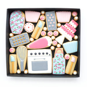 baking day theme decorated cookies by katies biscuit shop