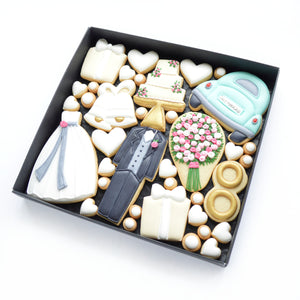 wedding themed hand iced biscuits by katies biscuit shop