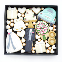 Load image into Gallery viewer, wedding themed decorated cookies by katies biscuit shop
