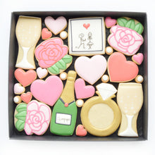 Load image into Gallery viewer, engagement themed decorated cookies
