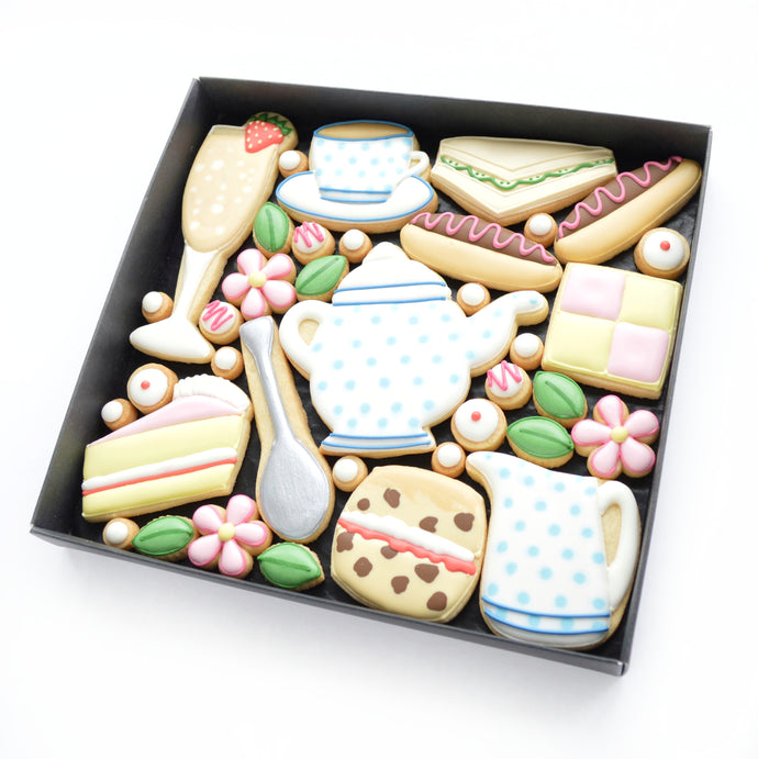 Afternoon tea theme hand iced biscuits by katies biscuit shop