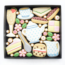 Load image into Gallery viewer, Afternoon tea theme decorated cookies by katies biscuit shop