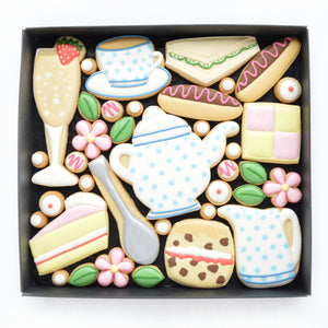 Afternoon tea theme decorated cookies by katies biscuit shop