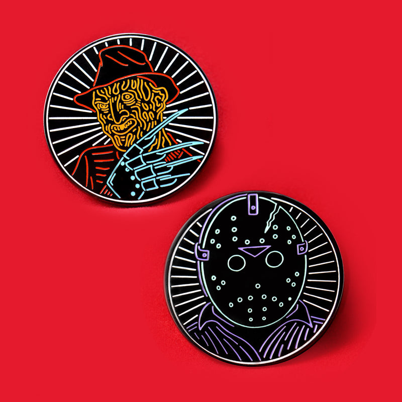 "Freddy V Jason 1.25"" Hard Enamel Pin Set"