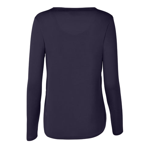 "{""color"":""Graphite Navy"",""alt"":""Women's Smooth Touch V-Neck Long Sleeve Tee, Back""}"