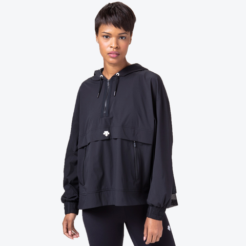 "{""caption"":""Model is 5'8\"", Size Small"",""color"":""Black"",""alt"":""Women's Performance Hooded Anorak shown on model in black from the front""} Performance Hooded Anorak, Front in Black"