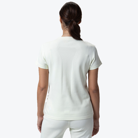 "{""caption"":""Model is 5'8\"", Size Small"",""color"":""Floss White"",""alt"":""Women's SYNCHKNIT Capture Short Sleeve T-Shirt worn on model from the back in floss white""}"