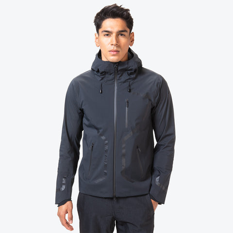 "{""caption"":""Model is 6'0\"", 31\"" Waist, Size Medium"",""color"":""Black"",""alt"":""Men's ALLTERRAIN Streamline Hard Shell Jacket On Model Front View""}"