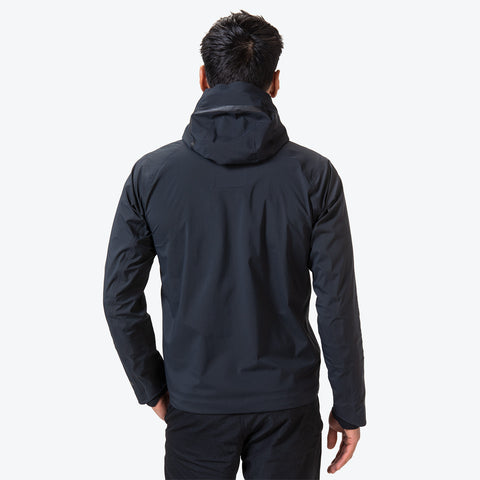 "{""caption"":""Model is 6'0\"", 31\"" Waist, Size Medium"",""color"":""Black"",""alt"":""Men's ALLTERRAIN Streamline Hard Shell Jacket On Model Back View""}"