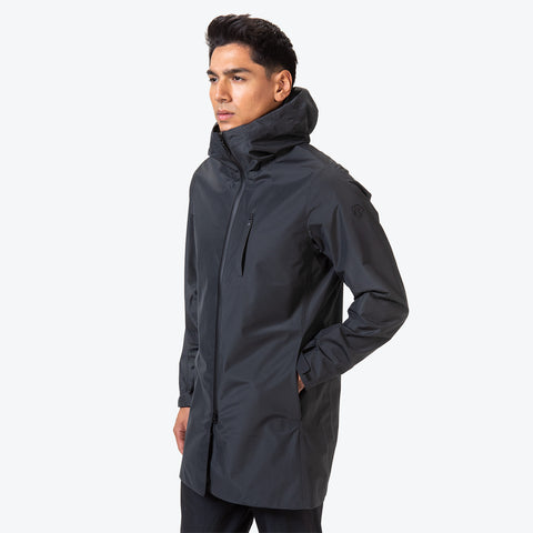 "{""caption"":""Model is 6'0\"", 31\"" Waist, Size Medium"",""color"":""Black"",""alt"":""Men's ALLTERRAIN Schematech Shield BOA Shell All-Weather Coat On Model Side View""}"