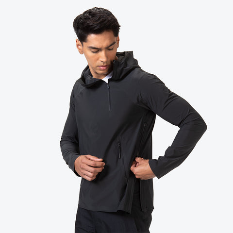 "{""caption"":""Model is 6'0\"", 31\"" Waist, Size Medium"",""color"":""Black"",""alt"":""Men's ALLTERRAIN Parahem Packable Hooded Jacket On Model Side View Unzipping Pocket""}"