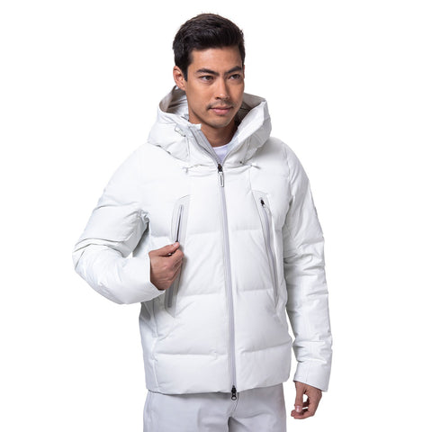 "{""caption"":""Model is 6'0\"", 32\"" Waist, Wearing a Size Medium"",""color"":""Planetary White"",""alt"":""Men's ALLTERRAIN Mizusawa Down Jacket Mountaineer, Side View On Model""}"