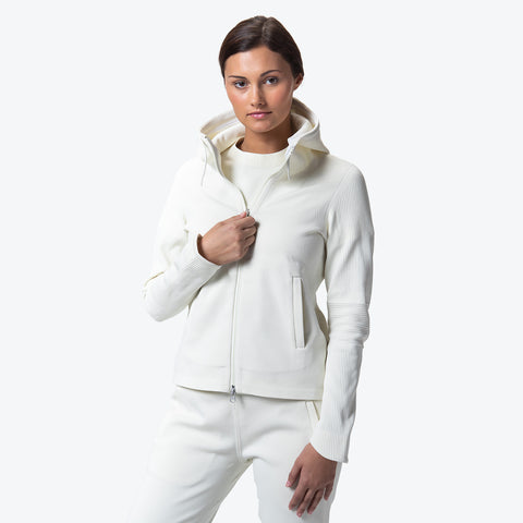"{""caption"":""Model is 5'8\"", Size Small"",""color"":""White Ecru"",""alt"":""Women's SYNCHKNIT Crescent Hoodie Jacket worn on model from the front in floss white""}"