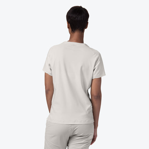 "{""caption"":""Model is 5'8\"", Size Small"",""color"":""White Ecru"",""alt"":""Women's ALLTERRAIN Seamless Stretch Tee On Model Back View""}"