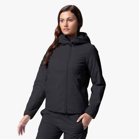 "{""caption"":""Model is 5'8\"", Size Small"",""color"":""Black"",""alt"":""Women's ALLTERRAIN Perforated Insulation Hooded Jacket On Model Front View""}"