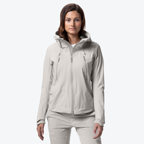 "{""caption"":""Model is 5'8\"", Size Small"",""color"":""White Ecru"",""alt"":""Women's ALLTERRAIN Creas Hard Shell Jacket""}"