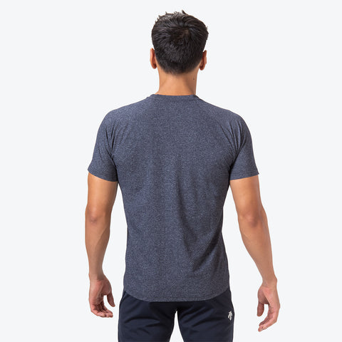 "{""caption"":""Model is 6'0\"", 31\"" Waist, Size Medium"",""color"":""Navy Melange"",""alt"":""TOUGH Short Sleeve T-Shirt on model from the back in navy melange""}"